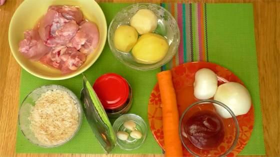 Ингредиенты для супа харчо с курицей