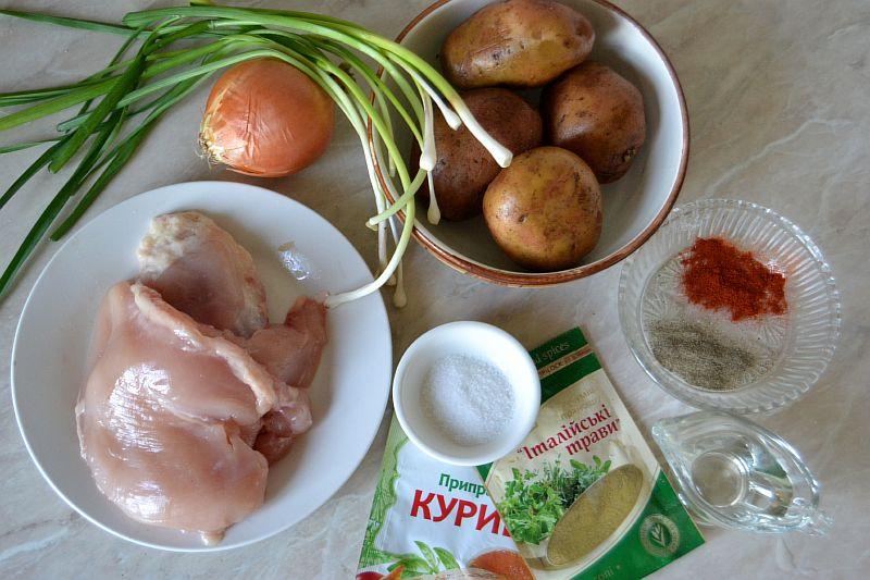Ингредиенты для шашлыков из курицы с картошкой