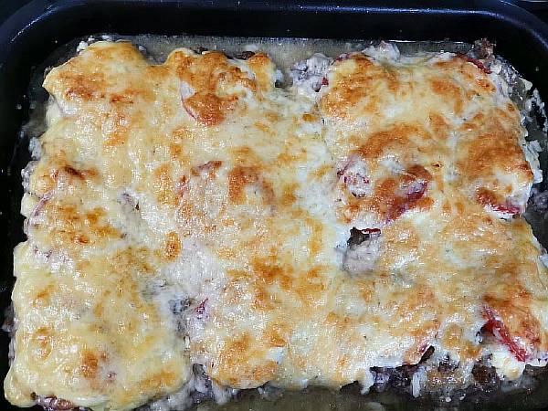 Картофель по-французски в духовке с фаршем