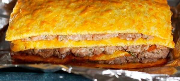 Сырный пирог с курицей