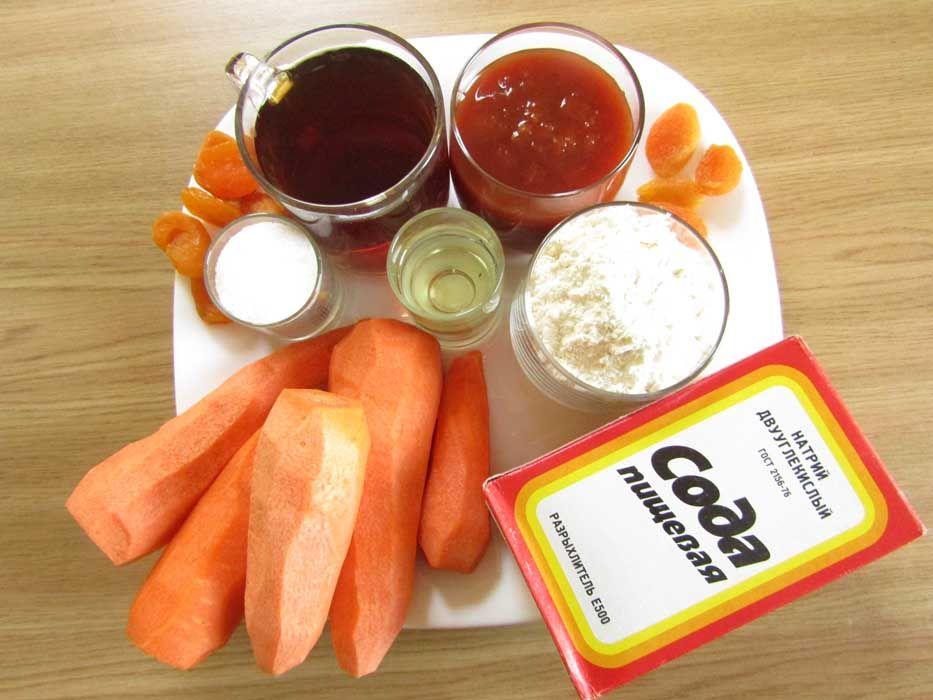 Ингредиенты для постного пирога с морковью
